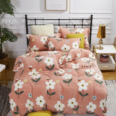 2020新款-牛奶绒四件套 1.5m床单款四件套 小桔朵-玉