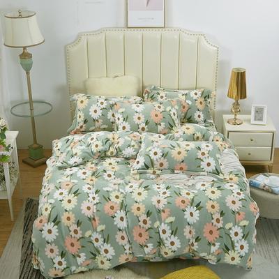 2020新款-牛奶绒四件套 1.5m床单款四件套 仙香花朵-绿