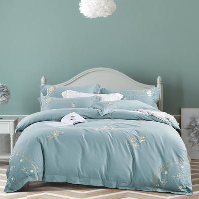 2020新款-菲欧娜100支绵羊绒刺绣四件套 1.5m床单款四件套 菲欧娜 纯净蓝