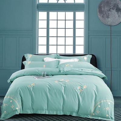 2020新款-菲欧娜100支绵羊绒刺绣四件套 1.5m床单款四件套 菲欧娜 凯利绿