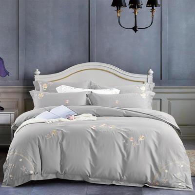 2020新款-菲欧娜100支绵羊绒刺绣四件套 1.5m床单款四件套 菲欧娜 气质灰