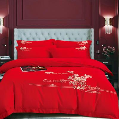 2020新款-甜馨园100支绵羊绒刺绣四件套 1.8m床单款四件套 甜馨园 大红