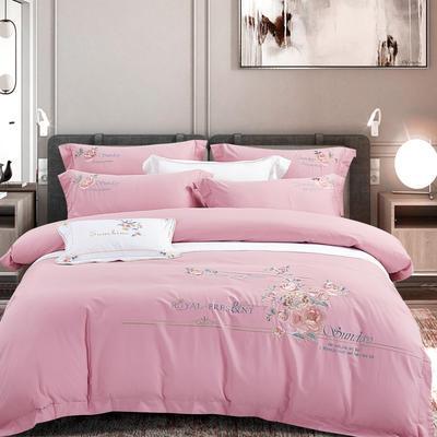 2020新款-甜馨园100支绵羊绒刺绣四件套 1.8m床单款四件套 甜馨园 桃花粉