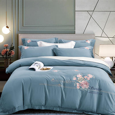 2020新款-甜馨园100支绵羊绒刺绣四件套 1.8m床单款四件套 甜馨园 蔚蓝色