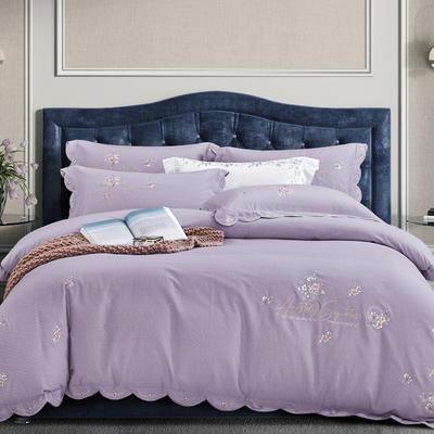 2020新款-绣艺120支绵羊绒刺绣四件套 1.8m床单款四件套 绣艺 紫薯色