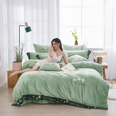 2020新款-冬日暖阳-经典时尚宽边刺绣水晶绒美肤绒四件套 1.8m床单款四件套 水绿