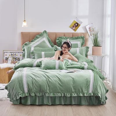 2020新款-韩系范-韩版蕾丝工艺款水晶绒美肤绒荷叶边四件套 1.5m床单款四件套 豆绿