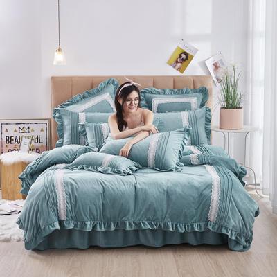 2020新款-韩系范-韩版蕾丝工艺款水晶绒美肤绒荷叶边四件套 1.5m床单款四件套 蓝绿
