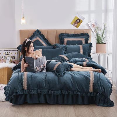 2020新款-韩系范-韩版蕾丝工艺款水晶绒美肤绒荷叶边四件套 1.5m床单款四件套 墨蓝