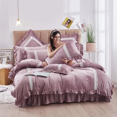 2020新款-韩系范-韩版蕾丝工艺款水晶绒美肤绒荷叶边四件套 1.5m床单款四件套 浅豆沙