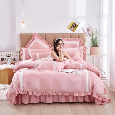2020新款-韩系范-韩版蕾丝工艺款水晶绒美肤绒荷叶边四件套 1.5m床单款四件套 浅粉