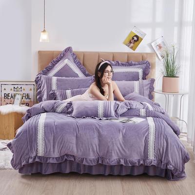 2020新款-韩系范-韩版蕾丝工艺款水晶绒美肤绒荷叶边四件套 1.5m床单款四件套 浅紫