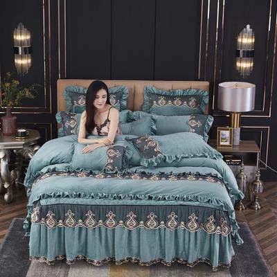2020新款-伊人风尚韩版蕾丝花边水晶绒美肤绒夹棉绗绣床裙款四件套 1.5m床裙款四件套 蓝绿