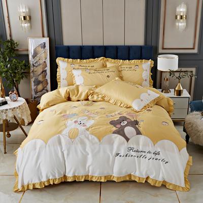 2020新款-80支长绒棉卡通贴布刺绣四件套 1.5m床单款四件套 布朗熊-黄