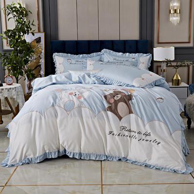 2020新款-80支长绒棉卡通贴布刺绣四件套 1.5m床单款四件套 布朗熊-蓝
