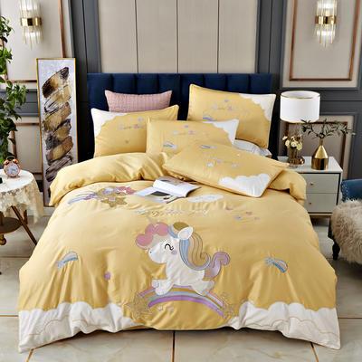 2020新款-80支长绒棉卡通贴布刺绣四件套 1.5m床单款四件套 彩虹独角兽-黄