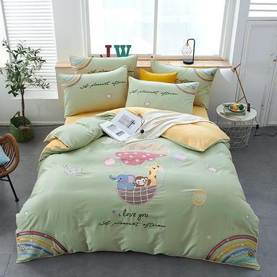 2020新款-80支长绒棉卡通贴布刺绣四件套 1.5m床单款四件套 奇妙乐园-绿