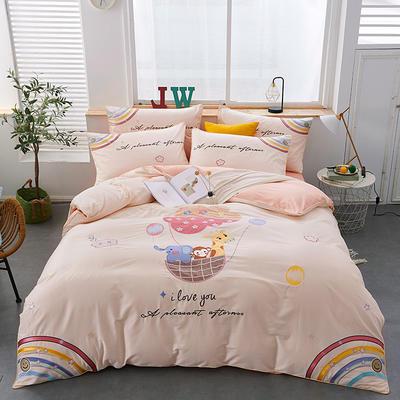 2020新款-80支长绒棉卡通贴布刺绣四件套 1.5m床单款四件套 奇妙乐园-玉