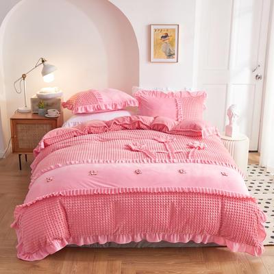2020新款-宝宝绒手工花保暖四件套 1.5m床单款四件套 粉红