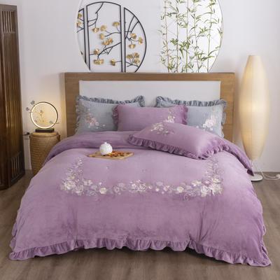 2020新款优雅时光-黑科技银离子抗菌蚕丝绒刺绣韩版四件套 1.8m床单款四件套 紫色