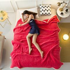 毛毯加厚珊瑚绒毯双层夹棉法兰绒毯空调毯 120*200 cm 玫红