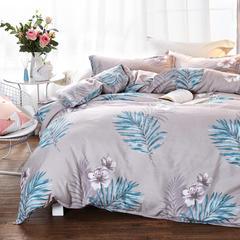 加厚保暖植物羊绒磨毛四件套床上用品被套三件套 1.2m(4英尺)床 闭月羞花【灰】