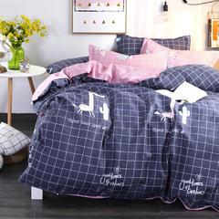 加厚保暖植物羊绒磨毛四件套床上用品被套三件套 1.2m(4英尺)床 快乐小兔【蓝】