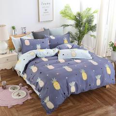 加厚保暖植物羊绒磨毛四件套床上用品被套三件套 1.2m(4英尺)床 菠萝蜜