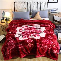2018新款-潘多拉拉舍尔毛毯 200cmx230cm 酒红