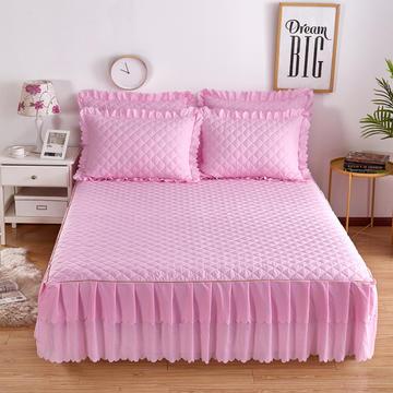 2018新款--纯色夹棉双边床裙三件套 床裙180*200cm 粉白