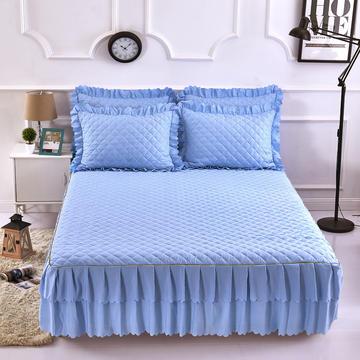 2018新款--纯色夹棉双边床裙三件套 床裙180*200cm 浅天蓝