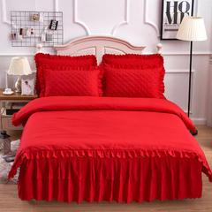 2018新款--纯色磨毛芦荟棉四件套 床裙150*200cm被套200x230 大红
