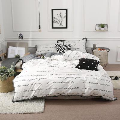 2019新款--13372喷气40S全棉水洗棉流苏四件套 1.2m(4英尺)床(床单款) 密趣字母