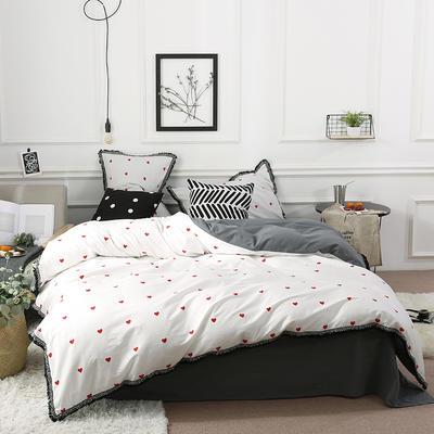 艾莱新款--13372喷气40S全棉水洗棉流苏四件套 1.2m(4英尺)床(床单款) 心语心愿
