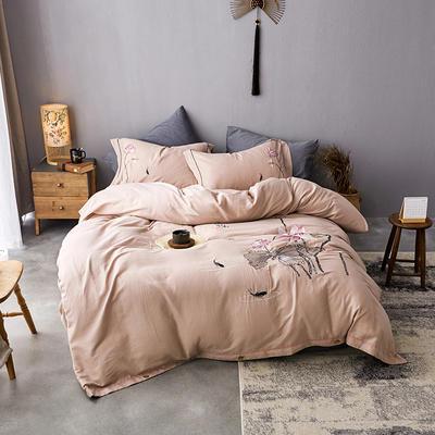 2019新款-全棉水洗棉提花树皮皱绣花四件套 2.0m(6.6英尺)床 陌上花开-驼色