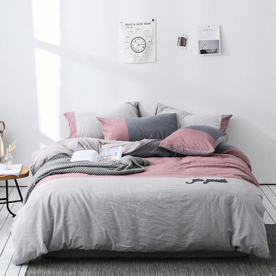 2019新款-色织全棉水洗棉3D绣花四件套 1.2m床单款三件套 初城