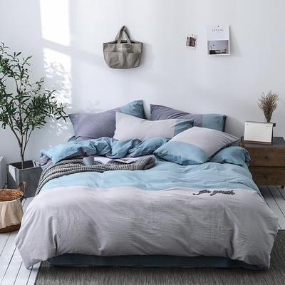 2019新款-色织全棉水洗棉3D绣花四件套 1.2m床单款三件套 微凉