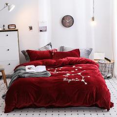 2019新款-冬季保暖暖绒加厚珊瑚绒双面绒水晶绒立体绣四件套 1.5m(5英尺)床 酒红