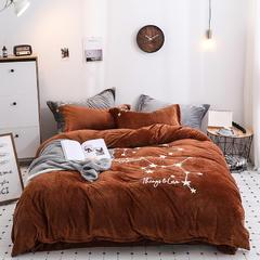 2019新款-冬季保暖暖绒加厚珊瑚绒双面绒水晶绒立体绣四件套 1.5m(5英尺)床 咖色