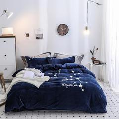 2019新款-冬季保暖暖绒加厚珊瑚绒双面绒水晶绒立体绣四件套 1.5m(5英尺)床 蓝色