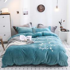 2018新款-冬季保暖超暖绒加厚珊瑚绒双面绒水晶绒立体绣四件套 1.5m(5英尺)床 绿色