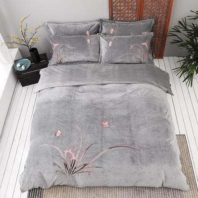 2020新款保暖中国风暖绒刺绣四件套床上用品新中式床单款 1.8m(6英尺)床 古兰-灰色