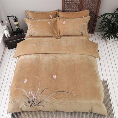 2019新款保暖中国风暖绒刺绣四件套床上用品新中式床单款 1.8m(6英尺)床 古兰-驼