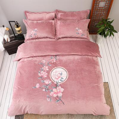 2019新款保暖中国风暖绒刺绣四件套床上用品新中式床单款 1.5m(5英尺)床 花落相思尽-豆沙