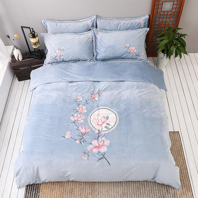 2020新款保暖中国风暖绒刺绣四件套床上用品新中式床单款 1.8m(6英尺)床 花落相思尽-蓝色