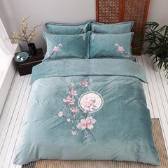 2018新款保暖中国风超暖绒刺绣四件套床上用品新中式床单款 1.8m(6英尺)床 花落相思尽-绿色