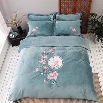 2019新款保暖中国风暖绒刺绣四件套床上用品新中式床单款 1.8m(6英尺)床 花落相思尽-绿色