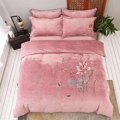 2019新款保暖中国风暖绒刺绣四件套床上用品新中式床单款 1.8m(6英尺)床 陌上花开-豆沙