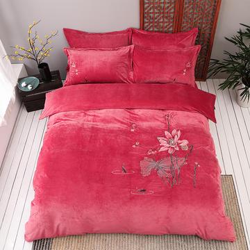 2019新款保暖中国风暖绒刺绣四件套床上用品新中式床单款
