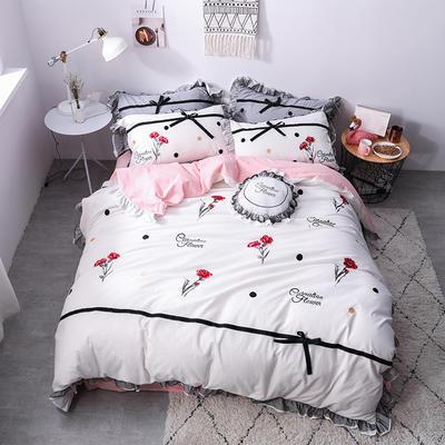 2020新款色织水洗棉蕾丝刺绣四件套 1.8m(6英尺)床 如意-白色